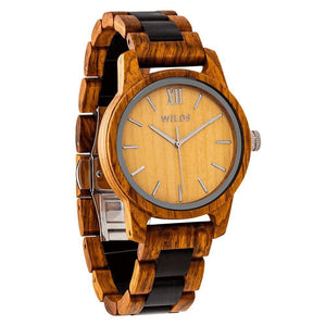 Men's Handmade Engraved Ambila Wooden Timepiece - Personal Message on the Watch