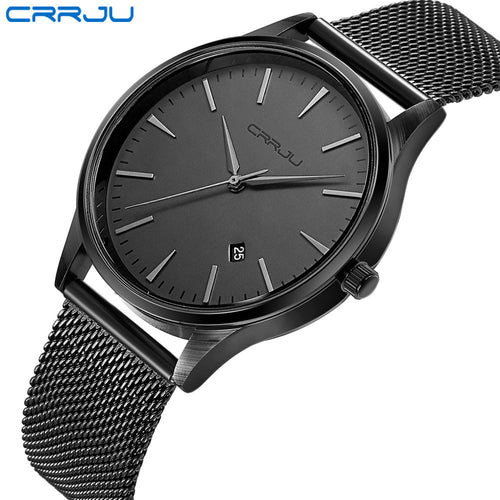 Top Luxury Brand Men Full Stainless Steel Mesh Strap Business Watches Men's Quartz Date Clock Men Wrist Watch