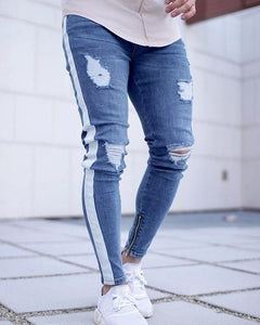 Stripe Ripped Jeans For Men Hip Hop Super Skinny Blue Men Jeans