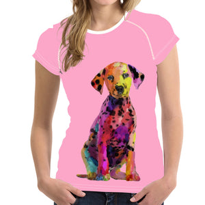 Pink 3D Dalmatians Dog  Women Shirt