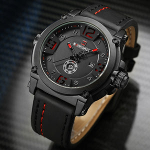 Luxury Waterproof Leather Quartz Watch Military Wristwatch