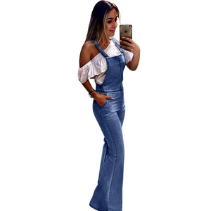 Spring Summer Wide Leg Denim Overalls Jumpsuit