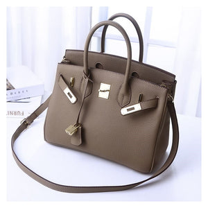 women luxury brand genuine leather lock handbags