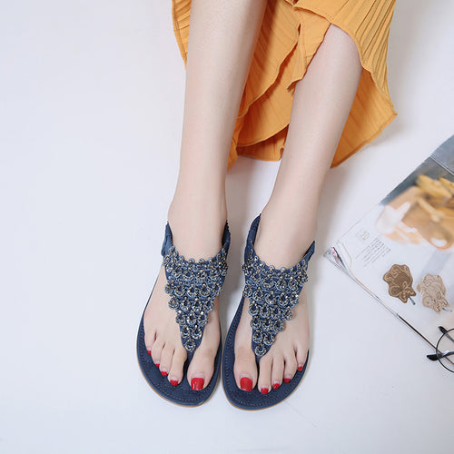 Rhinestone Beaded Flat Thong Sandals