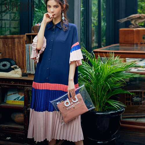 Women Dress Wold Casual Lapel Shirt Dress