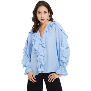 Sweet Ruffles Blouses Women Fashion Ruffles Long Sleeve Shirts