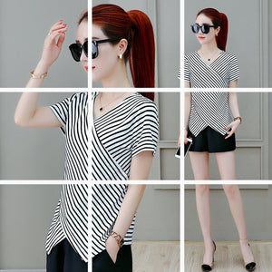 Striped T-Shirt Women's Short Sleeve Tee