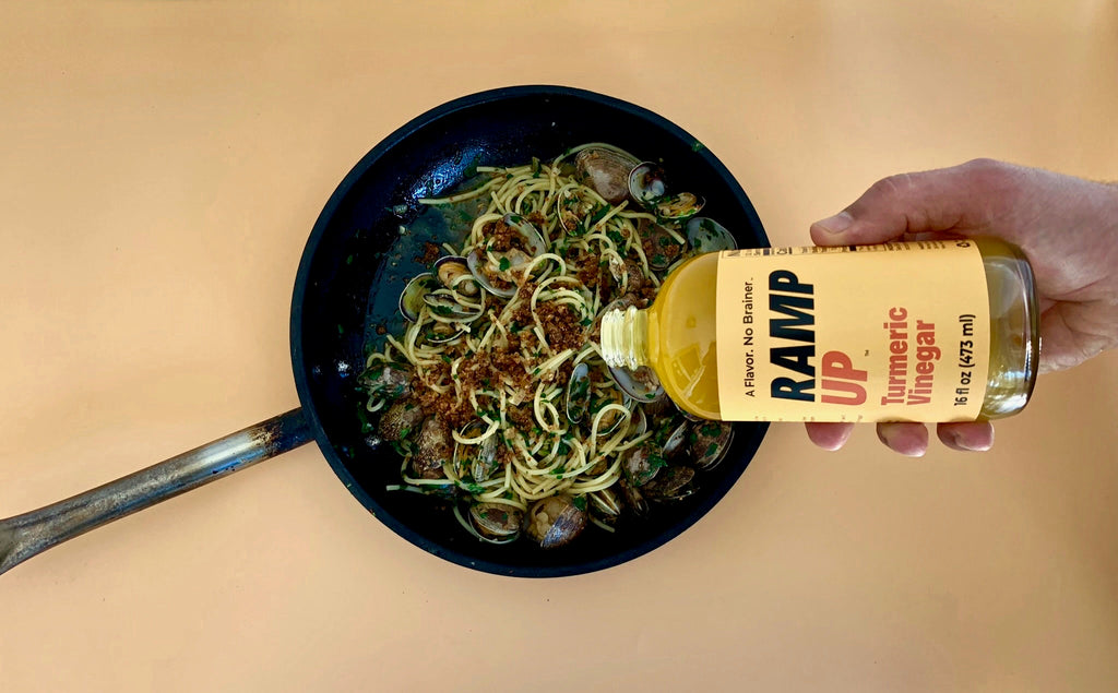 Turmeric Vinegar with Spaghetti Vongole & Pancetta Bread Crumbs