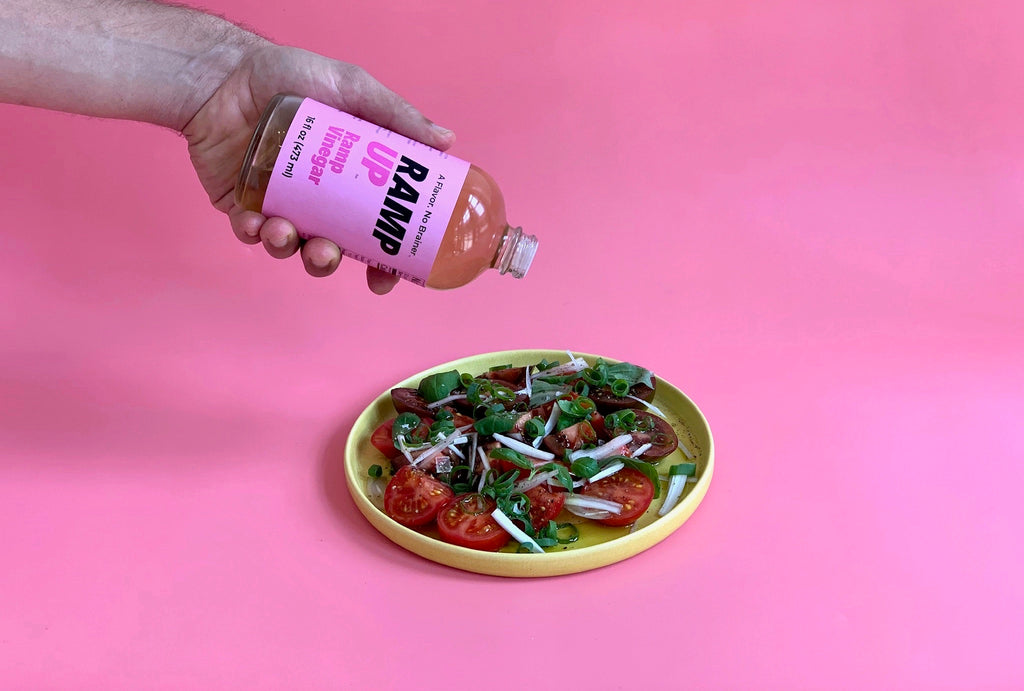 Ramp Vinegar with Tomato, Basil & Scallion Salad