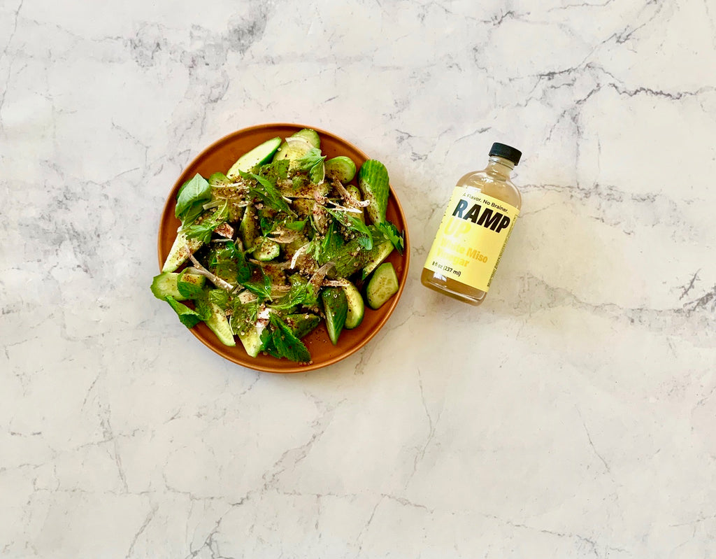 VIDEO: White Miso Vinegar with Persian Cucumber & Herb Salad