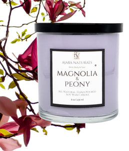 Magnolia & Peony All Natural, Hand Poured Soy Wax Candle Candle AJABA NATURALS®
