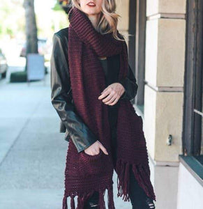 Oversized Two Pocket Tassel Scarf Scarf AJABA NATURALS® Burgundy