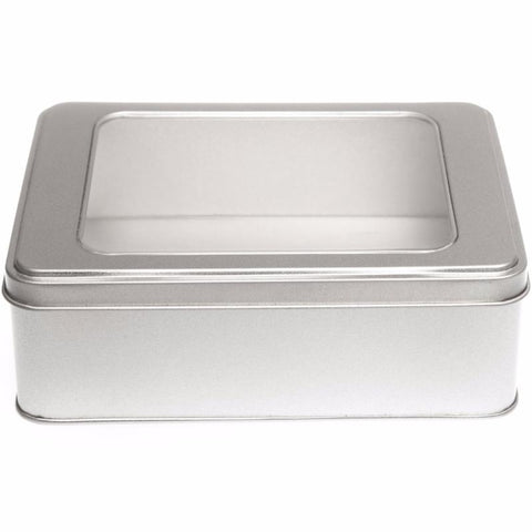1000ml Silver Removable Lid Storage Tin With Window