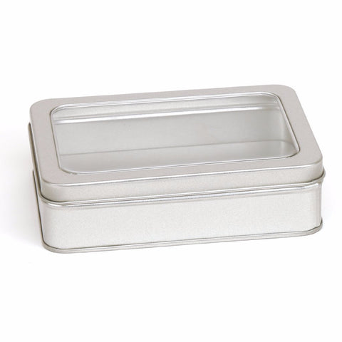 300ml Silver Removable Window Lid Storage Tin