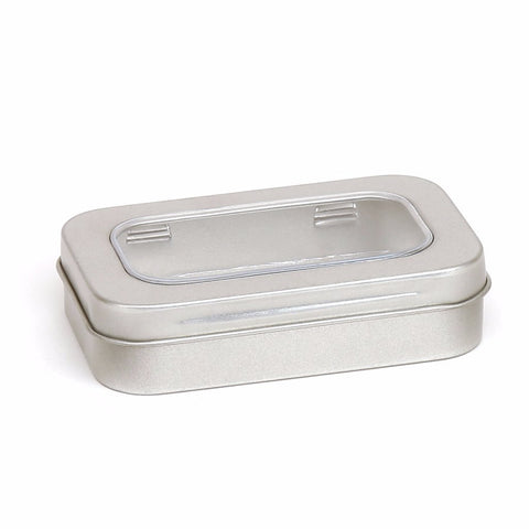 50ml Silver Hinged Storage Tin With Window