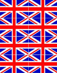 8 x Coloured Union Jack Vinyl Stickers