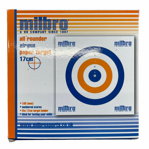 Milbro 17cm All rounder Airgun Card Targets