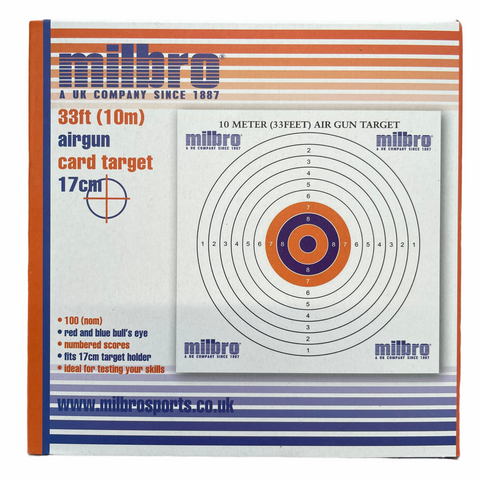 Milbro 17cm 33ft Airgun Card Targets