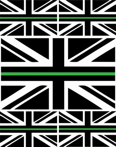 5 x Thin Green Line Union Jack Vinyl Stickers