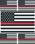 5 x Thin Red Line US Flag Vinyl Stickers