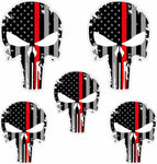 5 x Thin Red Line US Flag Tattured Punisher Vinyl Stickers