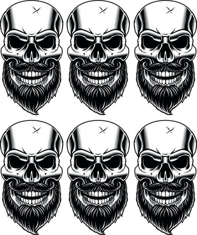 6 x Bearded Skulls Vinyl Stickers