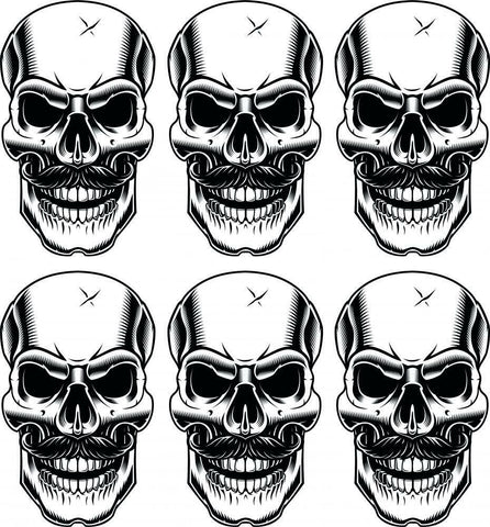 6 x Moustache Skulls Vinyl Stickers