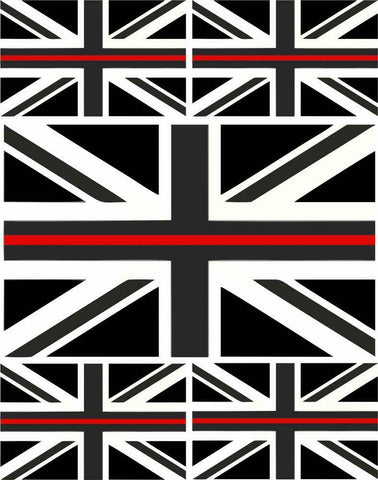 5 x Thin Red Line Union Jack Vinyl Stickers