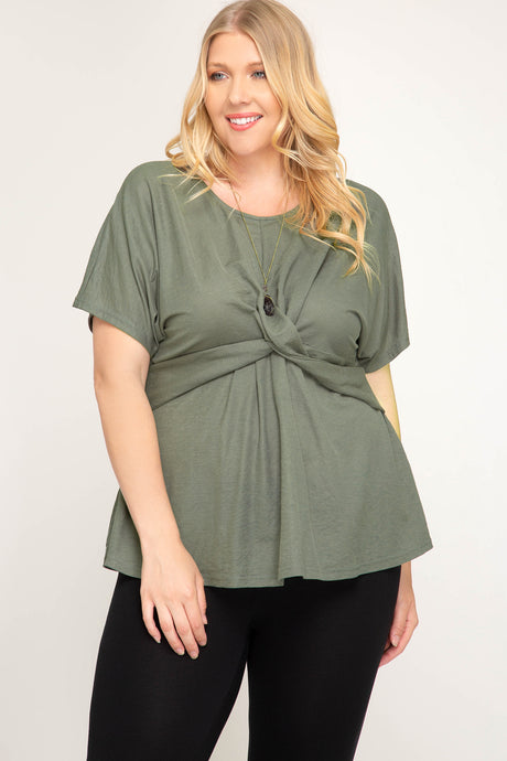 Knit Top With Front Twist (3956228980834)