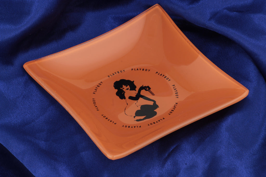 Playboy Replica Black and Orange Glass Ashtray