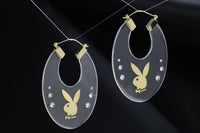 Playboy Clear Hoop Earrings