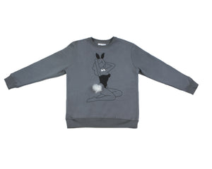 Playboy Women's Pin-On Bunny Tail Sweatshirt