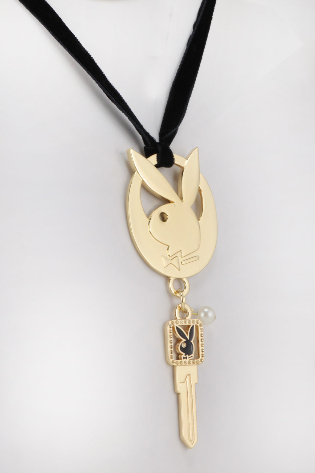 Playboy Velvet Choker Necklace with Pendant