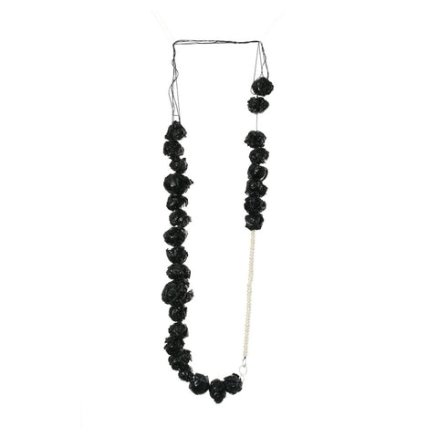 elegant necklace with pearls, silver and black paper.Art jewellery online store. by Izabella Petrut
