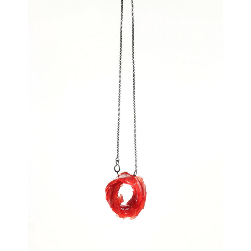 Necklace, silver, paper, resin, red