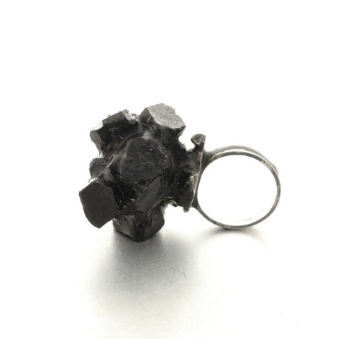 black oxidised silver and resin ring, Austrian jewelry brands, Vienna