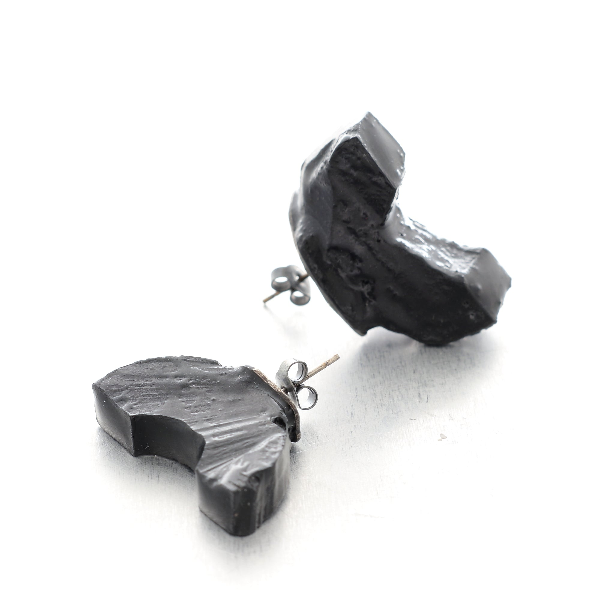 statement sculptural minimalist black jewelry earrings with epoxy resin and silver