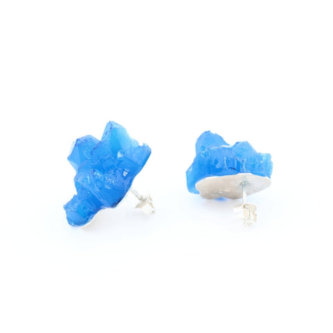 Fun deep blue earrings, handmade in silver and epoxy resin, by Izabella Petrut