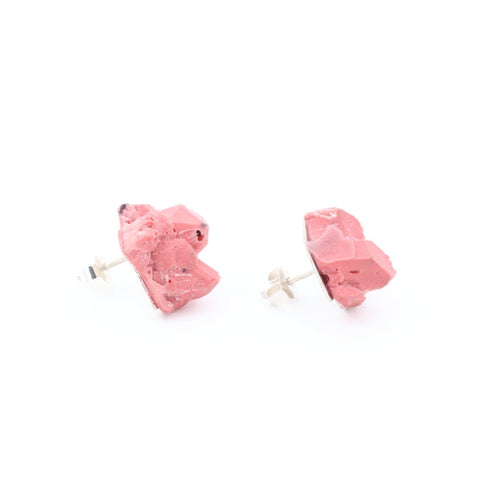 Small pink statement earrings handmade by Izabella Petrut in Vienna