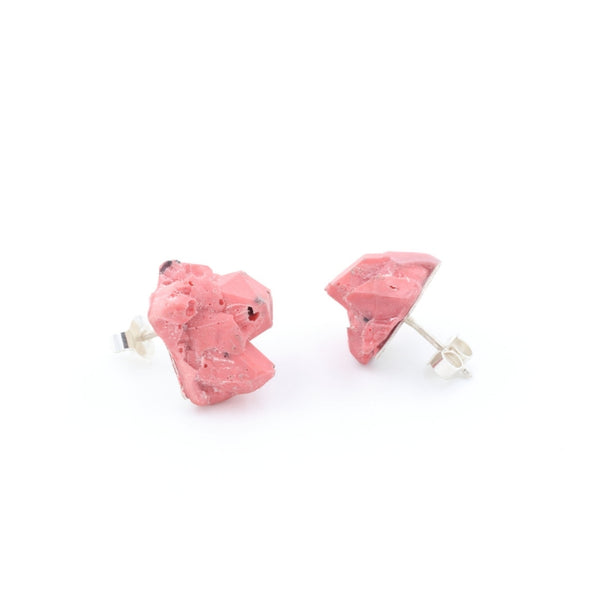 minimal pink earrings in silver and resin, by Izabella Petrut, gift ideas