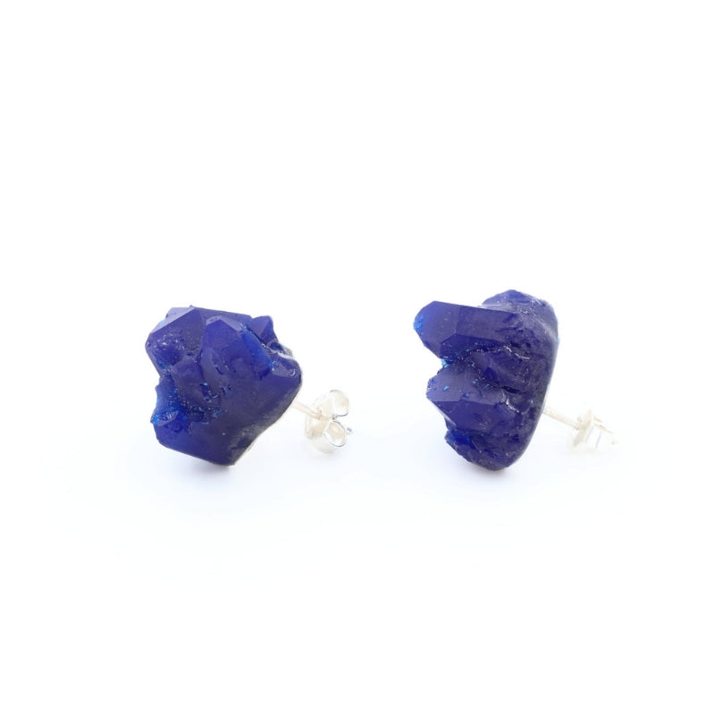 Small dark blue statement earrings, handmade by Izabella Petrut, Vienna
