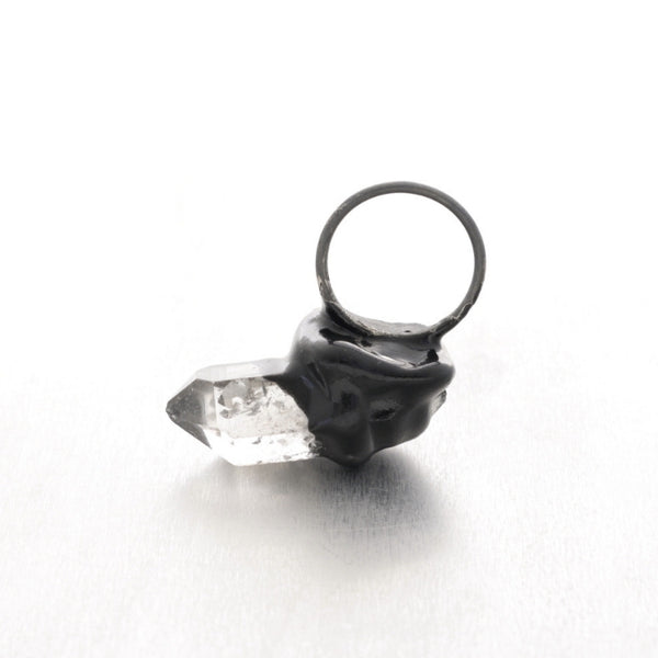 Off Center Dramatic ring with Quartz, by Izabella Petrut jewellery Vienna, shop online