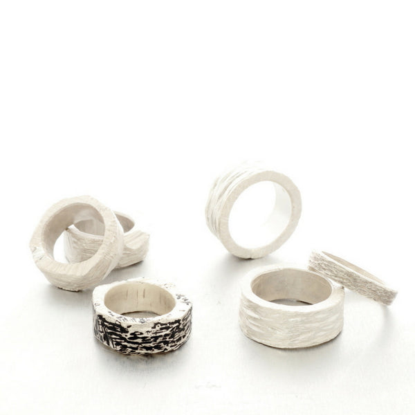 Unisex silver rings in various finishes, Islands of time