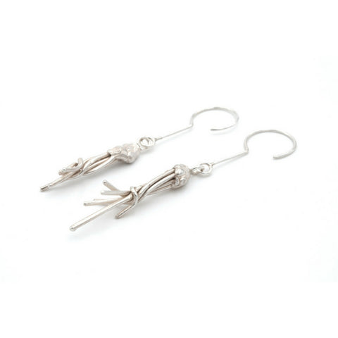 Silver earrings, hand made, one of a kind. Contemporary jewelry design Vienna. Izabella Petrut