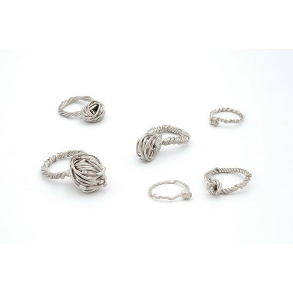contemporary jewellery design handcrafted in Vienna, sculptural silver rings