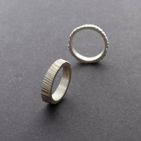 Stackable unique unisex silver rings with smooth inside