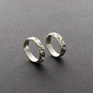Stackable unisex organic silver rings. Men jewellery design Vienna