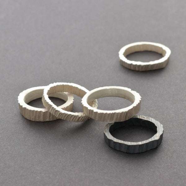 stacking rings in silver and gold, one of a kind, handmade in Vienna