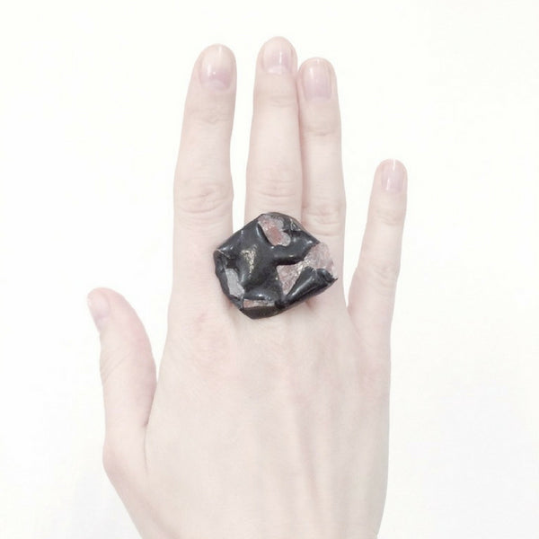 Oxidised silver ring, natural stone