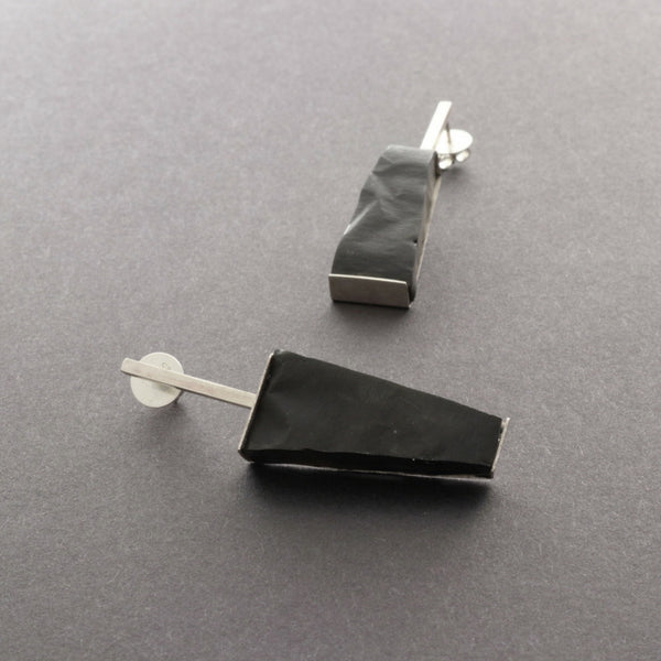 beautiful black statement earrings with silver and resin, handmade by Izabella Petrut